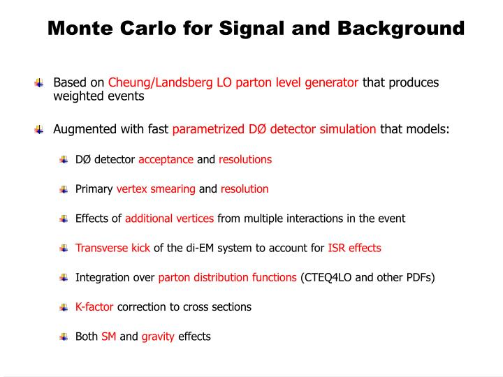 Monte Carlo for Signal and Background