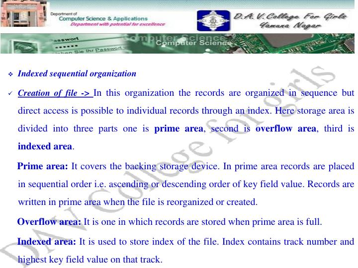 Indexed sequential organization