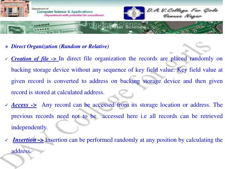 Direct Organization (Random or Relative)