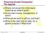 financing growth companies the agenda
