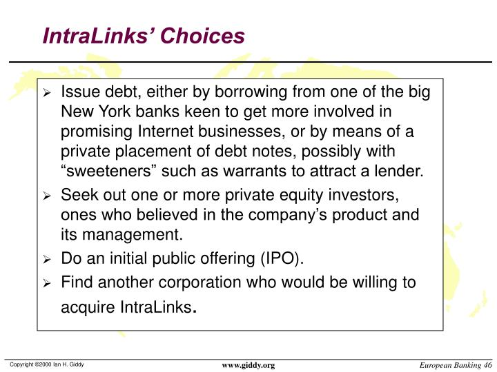 IntraLinks' Choices