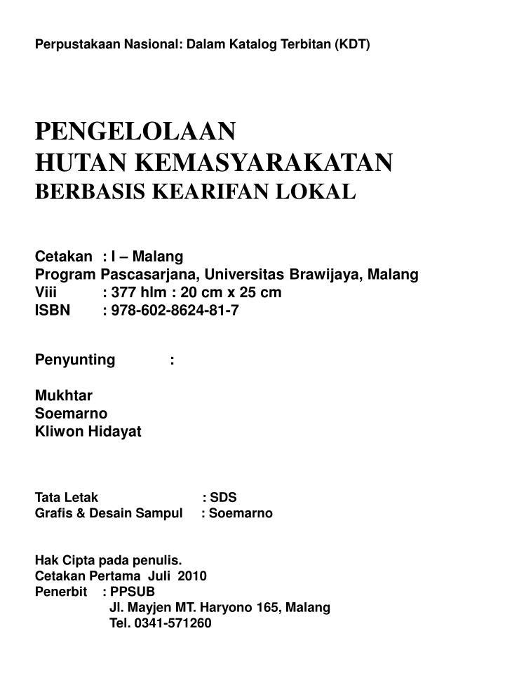 Perpustakaan Nasional: Dalam Katalog Terbitan (KDT)