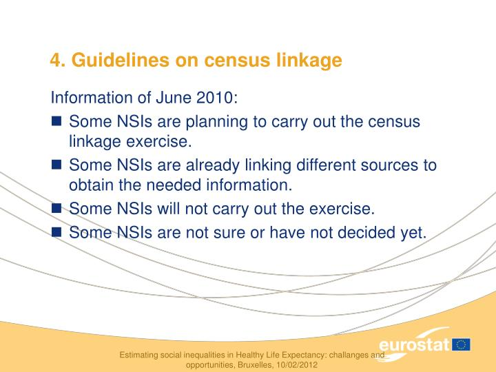 4. Guidelines on census linkage