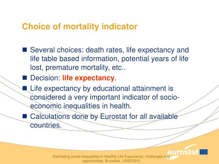 Choice of mortality indicator