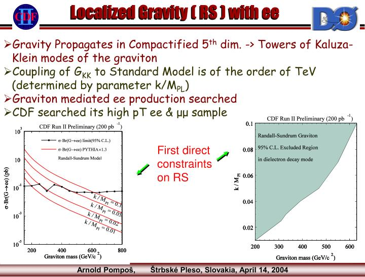 Localized Gravity ( RS ) with ee