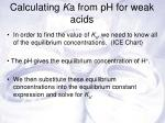 calculating k a from ph for weak acids