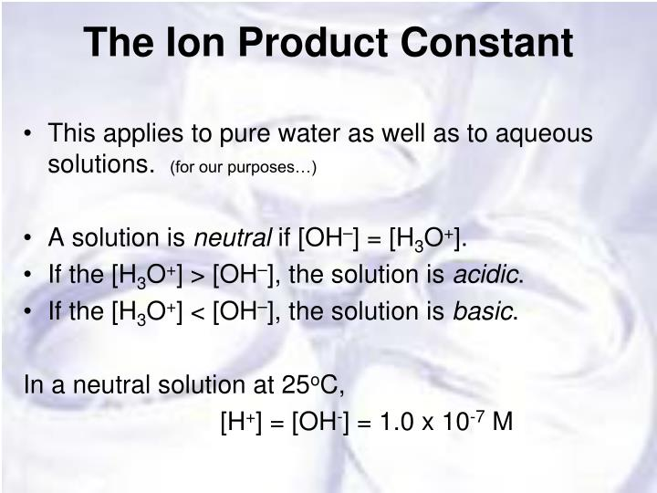 The Ion Product