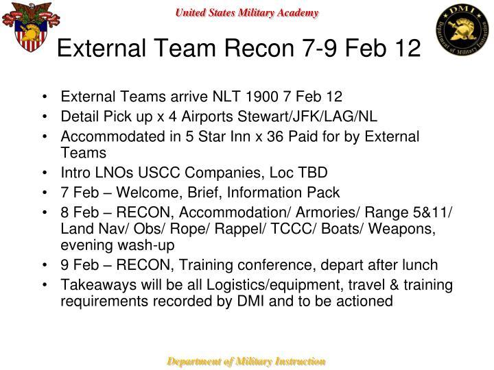 External Team Recon 7-9 Feb 12