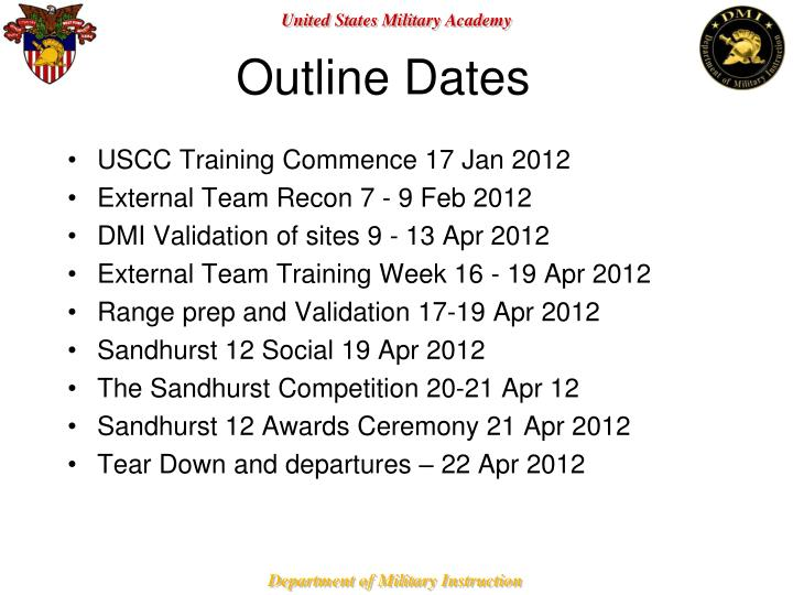 Outline Dates