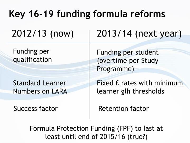 Key 16-19 funding formula reforms