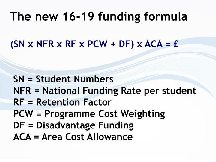 The new 16-19 funding formula