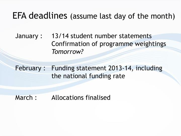 EFA deadlines