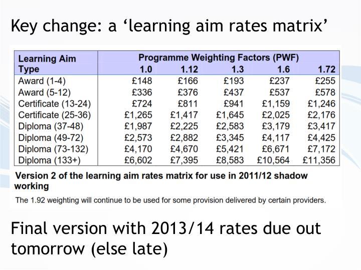 Key change: a 'learning aim rates matrix'