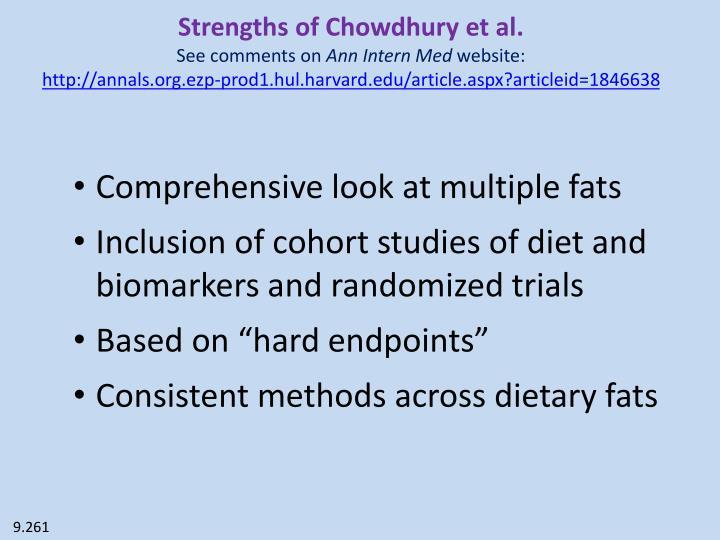 Strengths of Chowdhury et al.