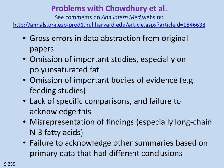 Problems with Chowdhury et al.