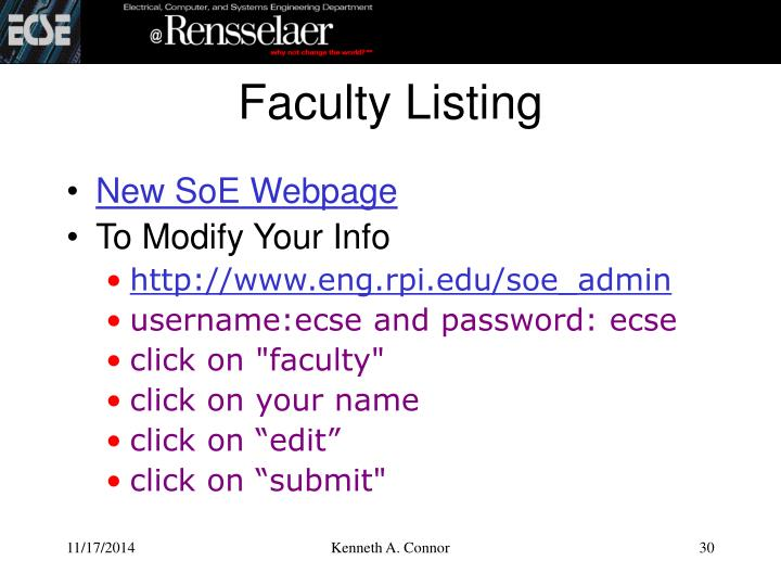 Faculty Listing