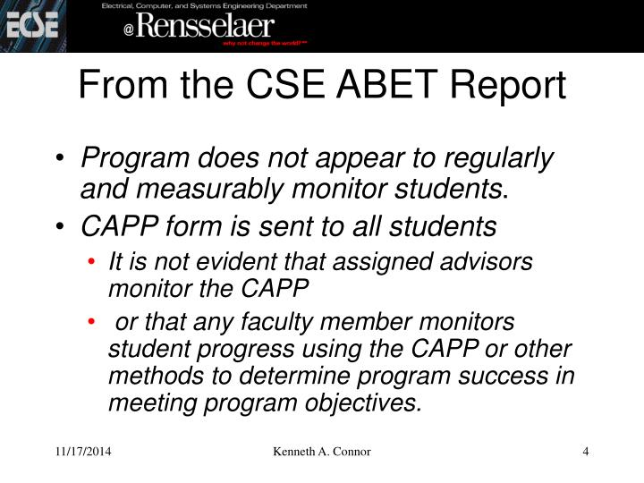 From the CSE ABET Report