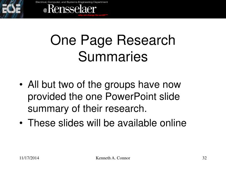 One Page Research Summaries