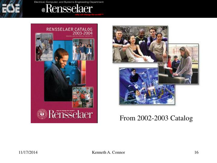 From 2002-2003 Catalog