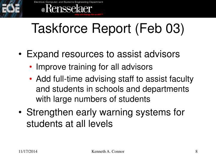 Taskforce Report (Feb 03)