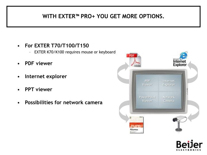 WITH EXTER™ PRO+ YOU GET MORE OPTIONS.