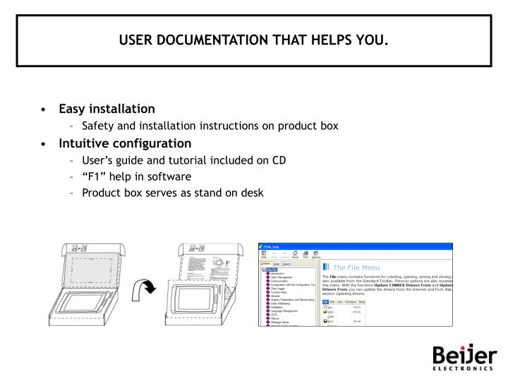 USER DOCUMENTATION THAT HELPS YOU.