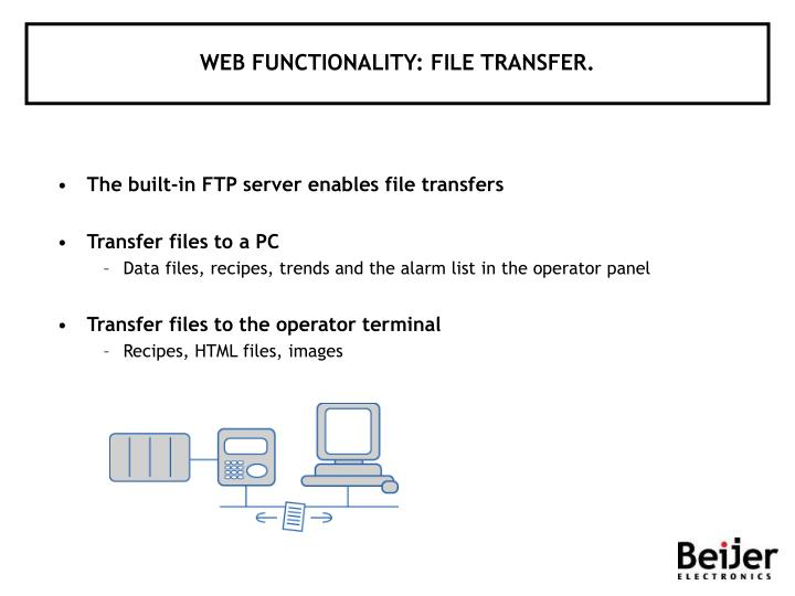 WEB FUNCTIONALITY: FILE TRANSFER.