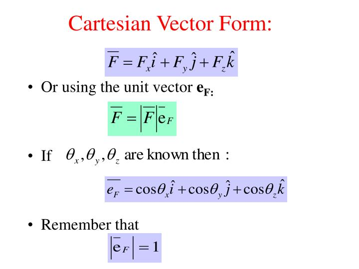 Cartesian vector form