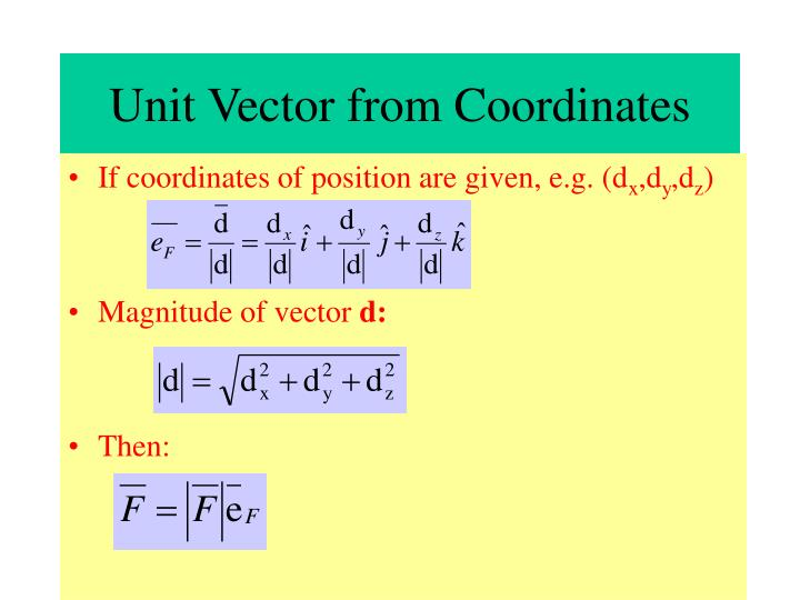 Unit Vector from Coordinates