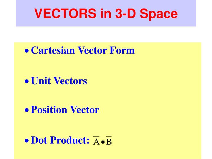 Vectors in 3 d space