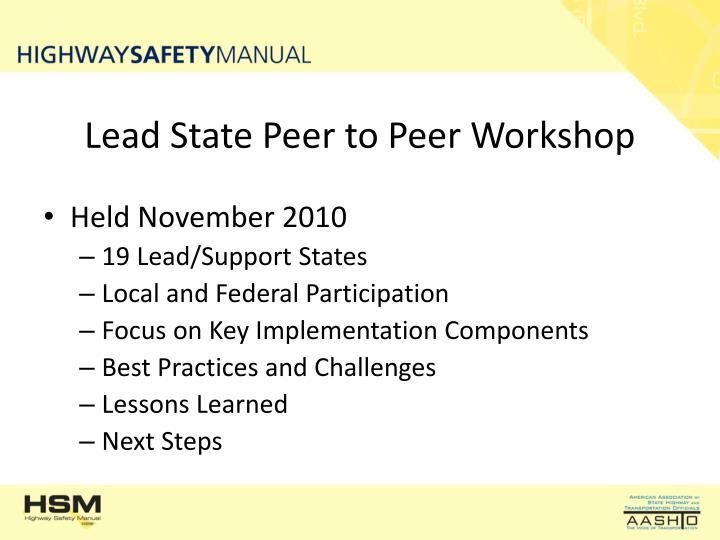 Lead State Peer to Peer Workshop