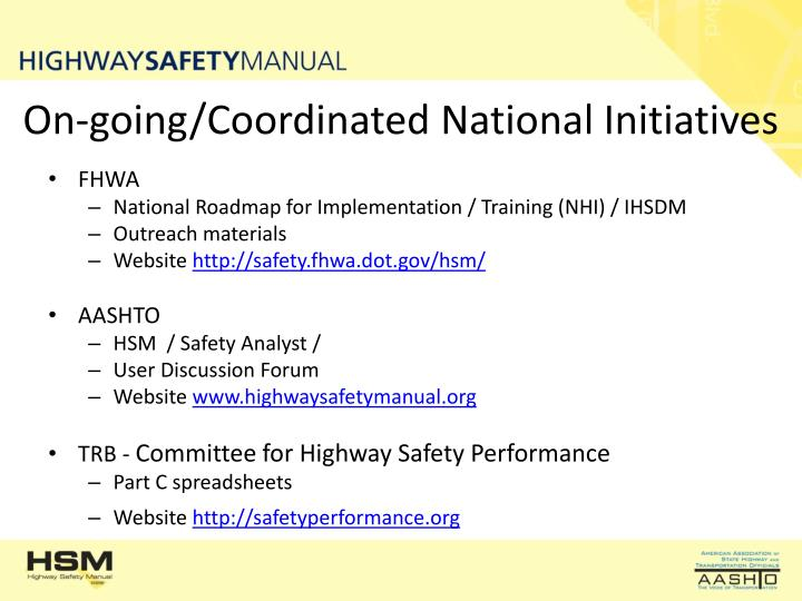 On-going/Coordinated National Initiatives