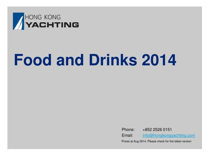 Food and Drinks 2014