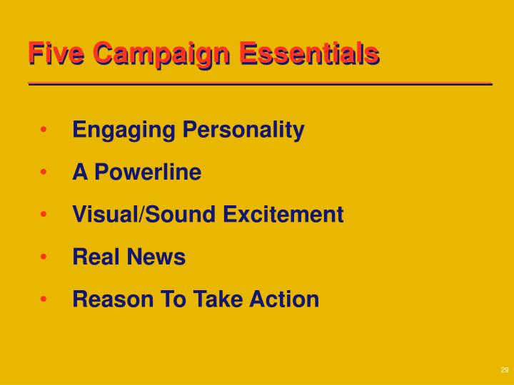 Five Campaign Essentials