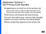 application scheme 1 hot primary cold standby