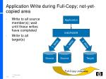 application write during full copy not yet copied area
