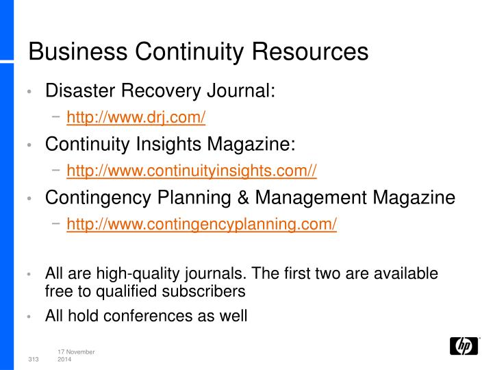 Business Continuity Resources