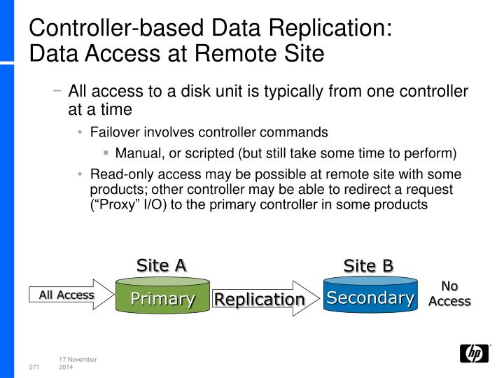 Controller-based Data Replication:
