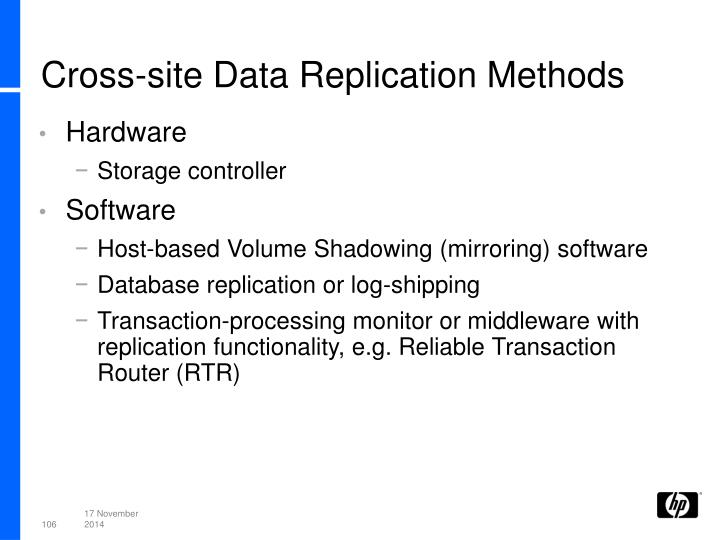 Cross-site Data Replication Methods