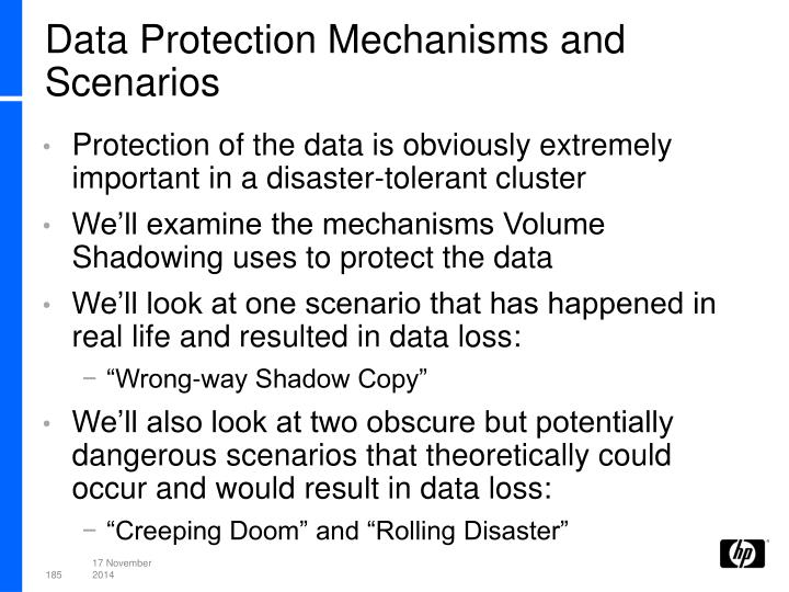 Data Protection Mechanisms and Scenarios