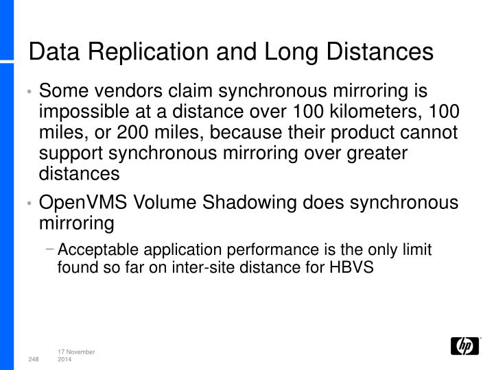 Data Replication and Long Distances