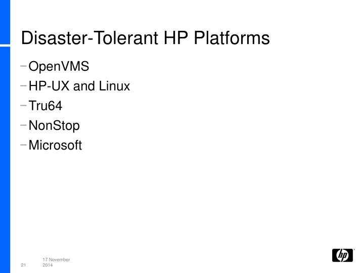 Disaster-Tolerant HP Platforms