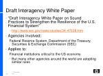 draft interagency white paper
