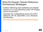 multi os disaster tolerant reference architectures whitepaper