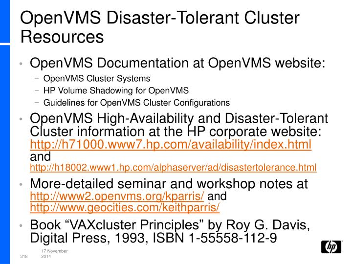 OpenVMS Disaster-Tolerant Cluster Resources