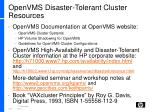 openvms disaster tolerant cluster resources