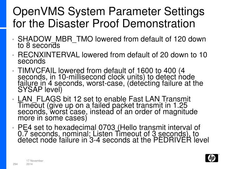 OpenVMS System Parameter Settings for the Disaster Proof Demonstration