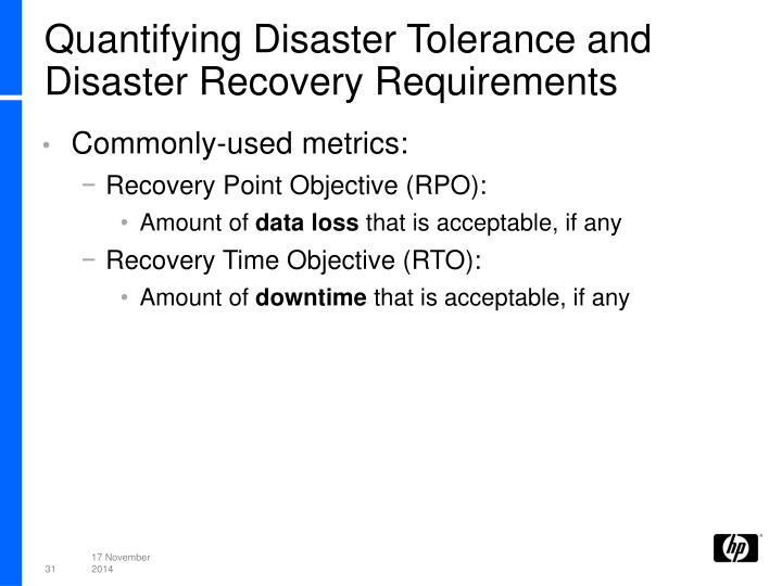 Quantifying Disaster Tolerance and