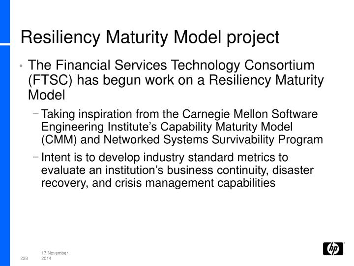 Resiliency Maturity Model project