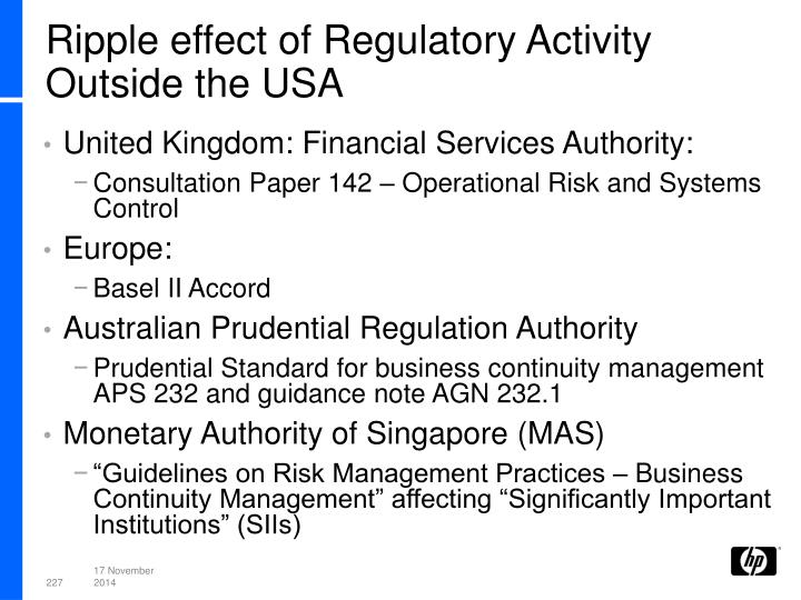 Ripple effect of Regulatory Activity Outside the USA